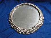 Silver Plated Wedding Cake Stand Antique Victorian 1880 Round Rocky Style Border