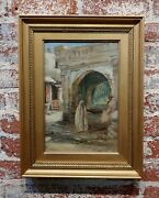 Robert Alexander -orientalist Scene At A Fountain In Tangier-1920s Oil Painting