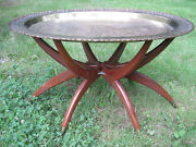 Vintage Mcm Oval Brass Tray Spider Base Table