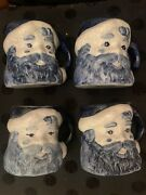 The Potting Shed- 4 Blue Santa Mugs-first Edition, Never Used- Great Condition