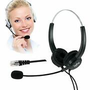 Telpal Telephone Headset Hands-free Center Noise Cancelling Corded Binaural H...