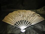 Sterling Silver Fan Engraved Unmarked Origin Unknown Asian Style Engraved