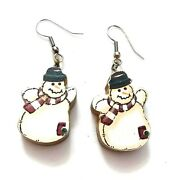 K49 Painted Wood Snowman Earrings Farmhouse Country