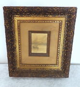 Antique Miniature Painting 3 Masted Sailing Ship Ornate Gold Gesso Frame Signed