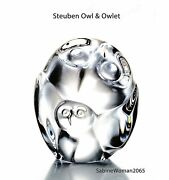 New In Box Steuben Glass Owl And Owlet Crystal Ornament Paperweight Heart Love Art