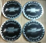 Chevrolet Wire Wheel Chips Emblems 4 Black And Chrome Size 2.25 Zenith Style