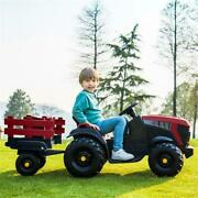 12v Electric Kids Ride On Car Battery-powered Tractor W/ Trailer Toy Red