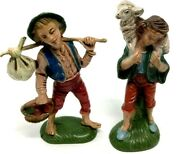 2 Figurines Made In Italy Plastic W Green Bottoms- Hobo Boy And Shepherd Lamb