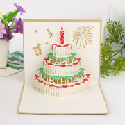 100x Pop Up Greeting Card Laser Cut Happy Birthday Kids Party 3d Cake Cards