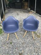 2 Mid Century Modern Dsw Molded Shell Lounge Plastic Arm Dining-chairs,