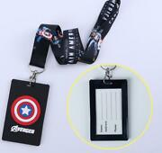 10 Pcs Captain America Black Lanyard Card Id Holder With Hanging String Keychain