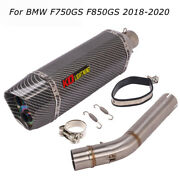 Slip For Bmw F750gs F850gs 2018-2020 Motor Exhaust Muffler Tips Mid Connect Pipe