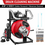 Commercial 100ft 3/8 Electric Drain Auger Drain Cleaner Machine Snake W/ Cutter