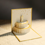 500x Happy Birthday Cake Postcards 3d Carved Blessing Greeting Gold Foil Cards