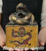 8and039and039 Old China Bronze Cloisonne Enamel Feng Shui Dragon Dragons Seal Stamp Signet