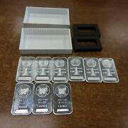 9 One Ounce Bars 999 One Troy Oz Silver --3 Sunshine And 6 Morgan Bars And Box