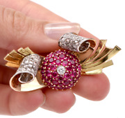Antique Solid 18k Gold And Platinum 5.30ct Diamonds And Rubies Pib Brooch