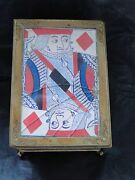 Antique Brass Playing Card Box, With 2 Packs Of Card, Circa 1860
