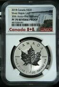 2018 Canada 20 Silver Maple Leaf 30th Anniversary First Releases Ngc Pf70 Rp