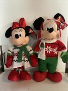 """Disney Minnie And Mickey Mouse Christmas Plush Set Of 2 Door Greeters Large 24"""""""