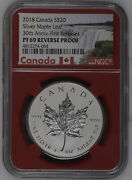 2018 Canada 20 Silver Maple Leaf 30th Anniversary First Releases Ngc Pf69 Red