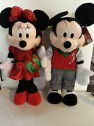 Disney Minnie And Mickey Mouse Christmas Plush Set Of 2 Door Greeters Large 24