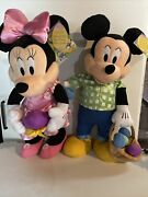 """Disney Minnie And Mickey Mouse Easter Plush Set Of 2 Door Greeters Large 24"""""""