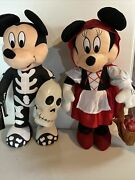 """Disney Minnie And Mickey Mouse Halloween Plush Set Of 2 Door Greeters Large 24"""""""