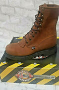 Menand039s Justin Work Boots 795 8 Aged Bark Steel Toe Oil Resisting Original Laceup