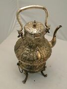 Silver Plated Tea Kettle England 1860 Chased And Engraved With Lamp Antique