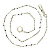 Antique 14k White Gold Royal Blue Enamel Bar And Open Link Pocket Watch Chain
