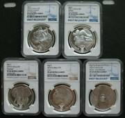 South Africa R5 2019-2021 Silver Proof 1oz Coin Big5 Series 5pcs Set Ngc Pf69