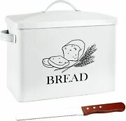 Extra Large Tin Metal Farmhouse Bread Box And Lid Handle Free Knife Fits 2 Loaves