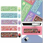 Mini Cute Lovely Multicolor Wireless Usb Keyboard And Mouse Kit For Pc Laptop