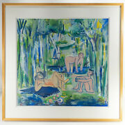 Contemporary French Pastel Gouache Painting Paper Signed Louis Cane After Manet
