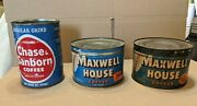 2x Vintage Maxwell House Hoboken Nj Coffee Cans + 1 Chase Sanborn Can Tin Lot