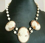 Vintage Necklace Years' 60 With Cameos And Coral Pink Gold Solid 18k Italy