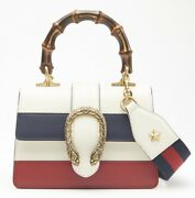 White/blue/red Striped Leather Dionysus Medium Top Handle Bag