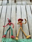 Vintage Rare Schleich Red Indian Bendable Figure Toy And Cowboy West Germany