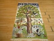 3'8 X 6'3 Unique Moroccan Wall Hanging Abc Collection Ca 1970 Wool Rug 586224