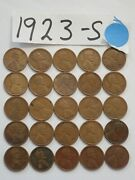 1923-s Cent Half Roll Solid Date = 25 Lincoln Wheat Pennies8 Or More Ship Free