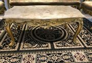 Victorian Marble Gold Coffee Table 3 Piece Set - 1 Coffee Table And 2 Side Tables