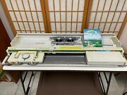 Silver Reed Sk-500 Vintage Knitting Machine And Srp-50 Rib Knitter,with Patterns