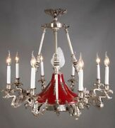 Ceiling Chandelier In Empire Style With Tragenden Swans In Silver Plated Brass