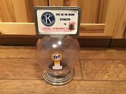 Vintage 10 Cent Ford Gumball Machine Plastic Globe W/ Coin Slot Ring, Ad Topper