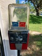 Atlas Master Vintage Gumball Machine Circa 1950and039s With Key 1 And 5 Cent