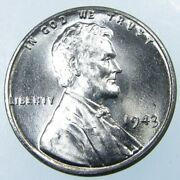 1943 P Steel Penny Zinc Coated Wheat Cent Uncirculated 1c
