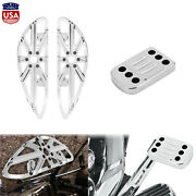 Chrome Cnc Cut Driver Floorboard Toe Heel Shift Lever Pegs Fit For Harley Models