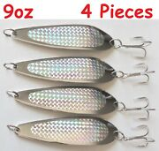 4 Pieces Casting 9oz/250g Crocodile Spoons Silver/chrome Saltwater Fishing Lures