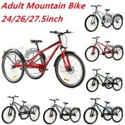 Adult Mountain Bike 7-speed 24/26/27.5inch Tricycles 3-wheel Mtb For Mens Womens
